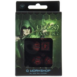 Elvish Dice Set, Black and Red