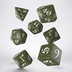 Classic RPG Dice Set Olive and White
